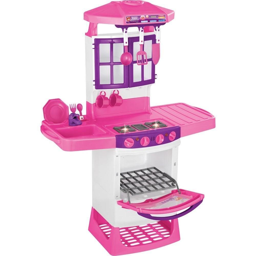 Brinquedo Cozinha Magica Eletronica Infantil Rosa Completa R 199