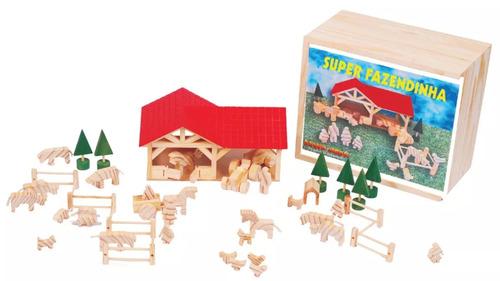 brinquedo didático super fazendinha em madeira 45 pçs