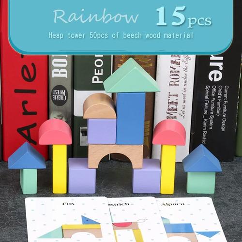 brinquedo educativo blocos de madeira com cards