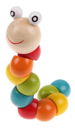 brinquedo educativo montessori - minhoca de torção colorida