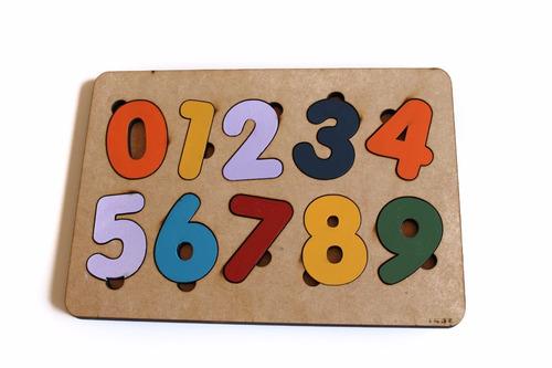 brinquedo encaixe números educativo pedagógico madeira - mdf
