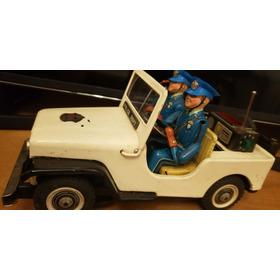 Brinquedo Jeep Polícia Lata Antigo Década De 50