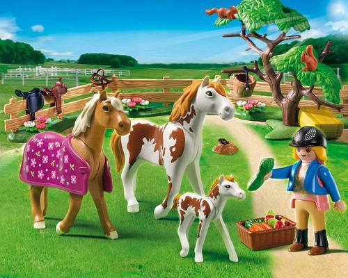 brinquedo lacrado playmobil padoque com cavalos e potro 5227