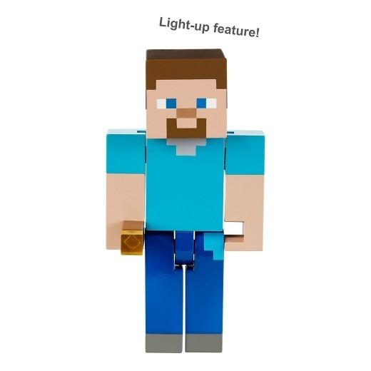 brinquedo minecraft steve com tocha luz acende r 160 00 em