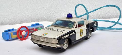 brinquedo miniatura lata mustang polícia japan raro
