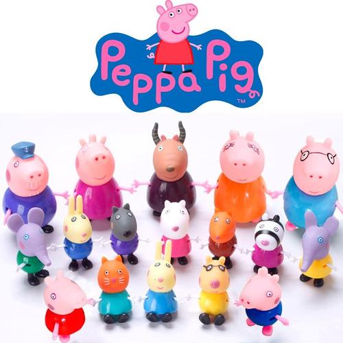 brinquedo miniaturas família peppa pig kit c/ 20 personagens