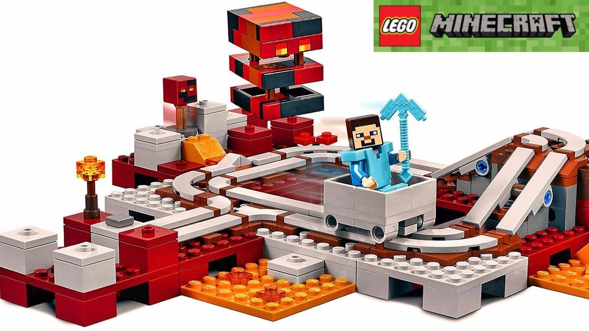 Brinquedo De Montar Lego Minecraft Ferrovia Do Nether 21130 - R  323 ... f3cc566b9c
