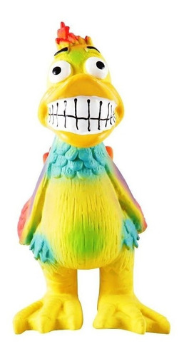 brinquedo, mordedor pato maluco com apito. em látex. p/ cães