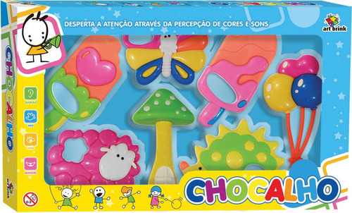 brinquedo para bebe chocalho baby c/7 pecas art brink kit