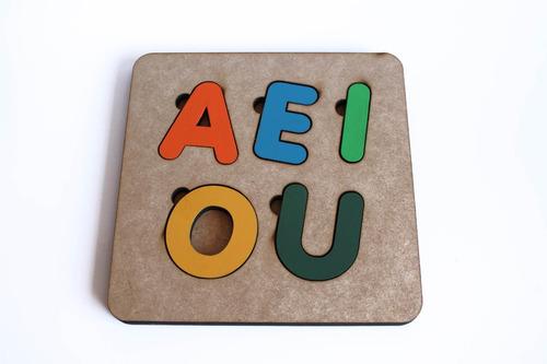 brinquedo tabuleiro vogais educativo pedagógico mdf
