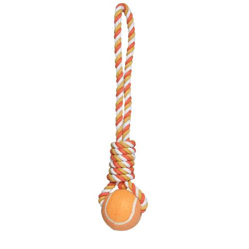 brinquedo tug com bola de tênis wow laranja  - grande