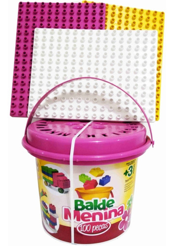 brinquedos para menina super balde com 100 blocos de montar