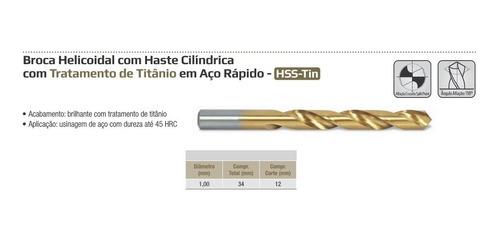 broca c/ tin paral. 1mm - 10 peças - ws drills
