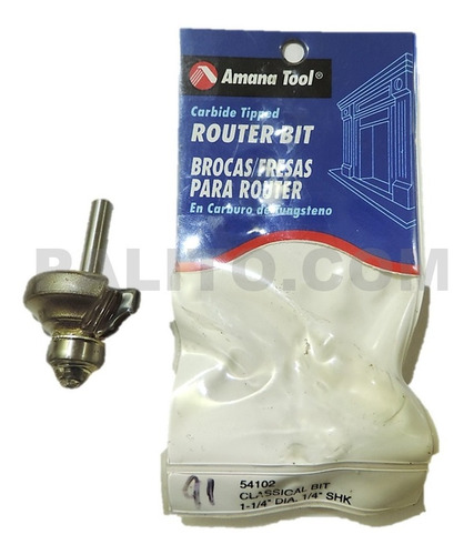 broca, fresa amana tool 54102 1-1/4  dia. 1/4  shk tungsteno