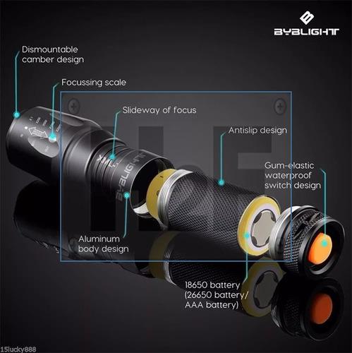broca linterna led zoom g700 x800 brillante recargable msi
