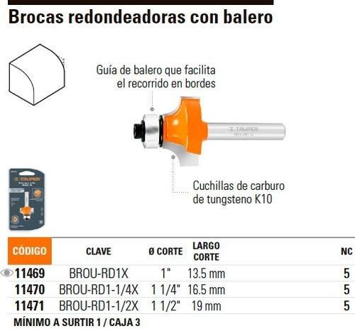 broca router redondeado 1-1/4' balero truper 11470