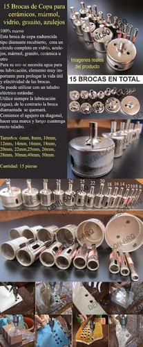 brocas copa para cerámicos mármol vidrio granito 15 unidades