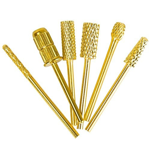 brocas de uñas set 3/32 '' gold carbide nail art b