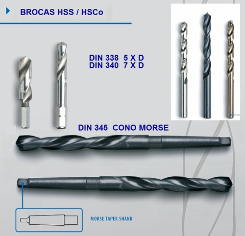 brocas helicoidales din 338 hss ø 7.9 mm - 5/16  cant 21 un