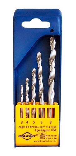 brocas jogo aço rápido 5 peças 7518 brasfort