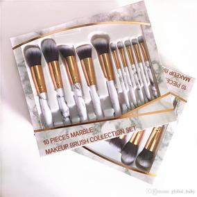 2177b7e27466a Set De 10 Brochas Brochas Blancas Marmol - Aplicadores para Maquillaje en  Mercado Libre México