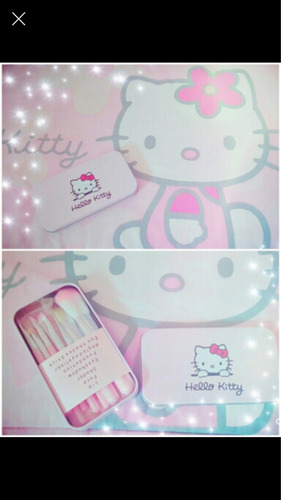 brochas maquillaje hello kitty x 7  en linda caja metálica!!