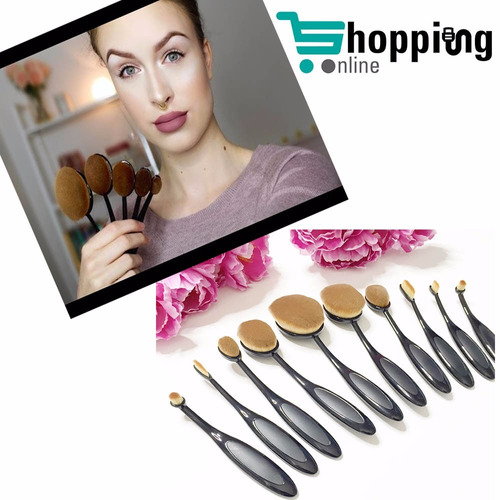 brochas ovaladas set 10 pcs oval brush make up caja + envio