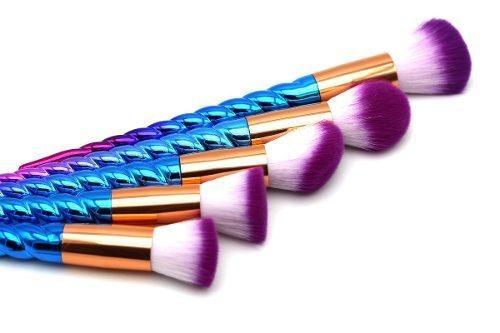 brochas para maquillaje set de 10 pz unicornio colores