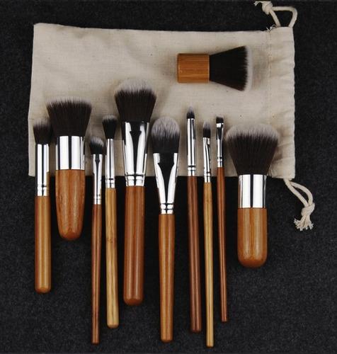 brochas profesionales maquillaje hechas bambu 100% natural