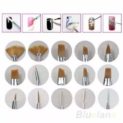brochas set de 15 pinceles de uñas maquillaje mayor bch