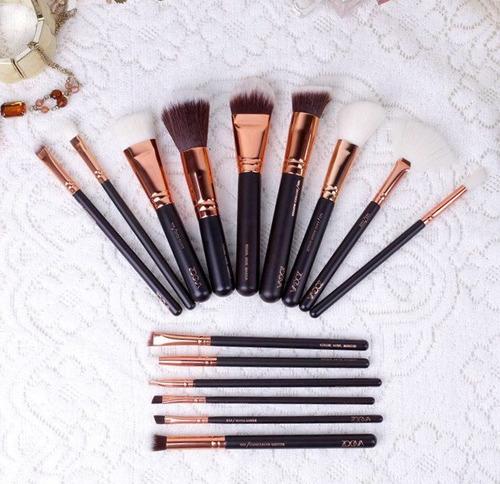 brochas zoeva set x 15 pcs rose golden complete maquillaje