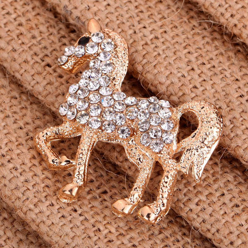 broche caballo dorado cristales swarovski b-010 f