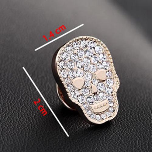 broche forma calavera cristales zirconia plateado b-171