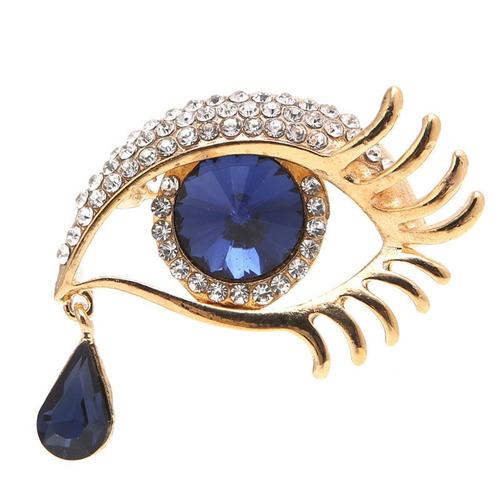 broche lagrima ojos azules dorado swarovski b-180