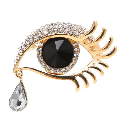 broche lagrima ojos negros dorado swarovski b-179