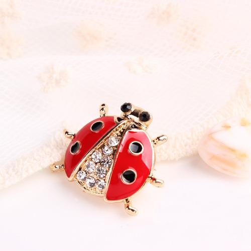 broche mariquita ladybug dorado diseño exclusivo b-088 f