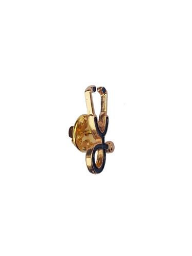 broche mini estetoscópio dourado com detalhes preto