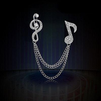 broche notas musicales cadenitas plateado zirconia b-121 f