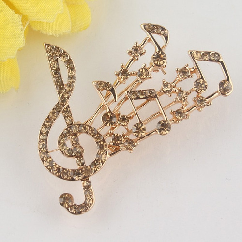 broche notas musicales zirconias swarovski ámbar b-126 f