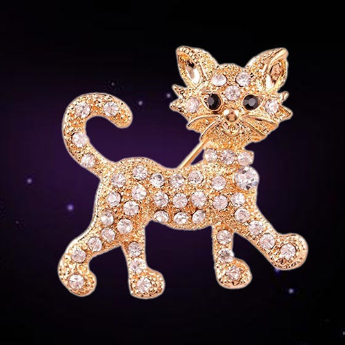 broche pin gatito dorado swarovski elements b-078