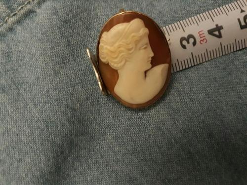 broche pingente camafeu antigo ouro 18k
