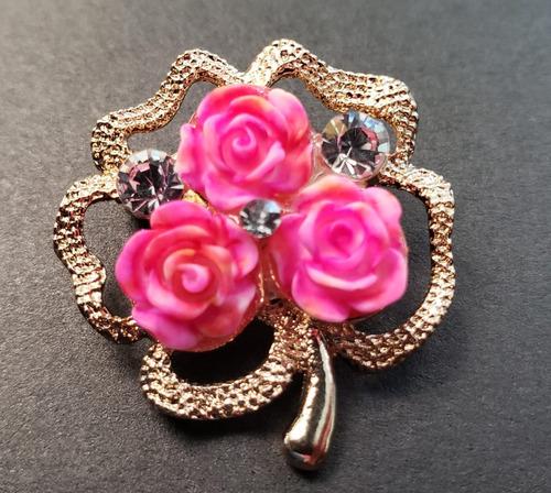 broche prendedor 3 rosas para dama elegante