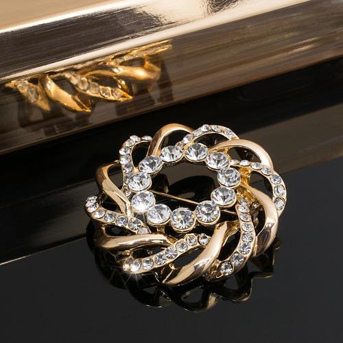 broche prendedor mujer dorado con cristales joyas fiesta