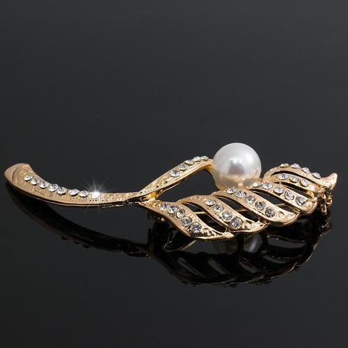 broche prendedor mujer hoja cristales y perla lindo regalo