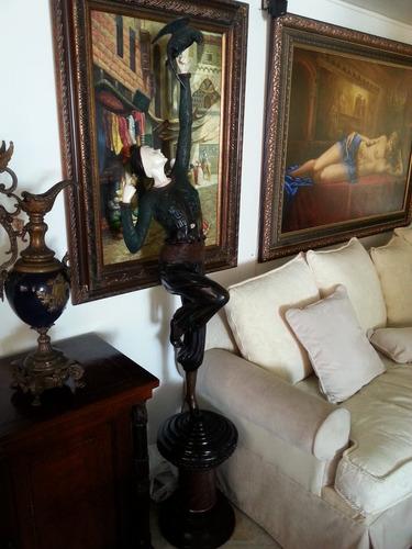 bronce mujer y ave estilo deco rostro manos imitacion marfil