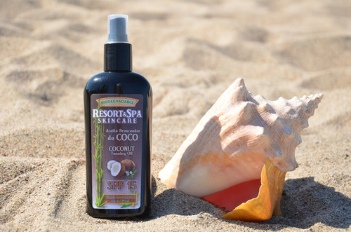 bronceador de coco 100 % biodegradable fps 15 250 ml.