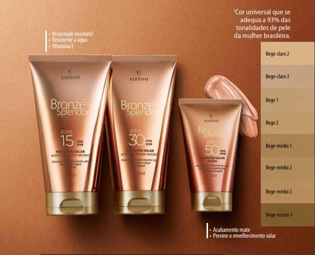 Combo Eudora Bronze Splendor Protetor Solar Corpo + Facial - R  129 ... 6af91d1f58