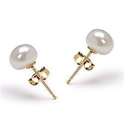 broqueles de autentica perla  6mm. en  plata .925  mma