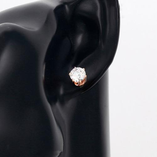 broqueles de oro rosa 14k lam con zirconias corte diamante