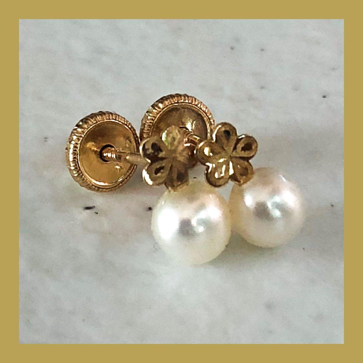3251d1e12174 Broqueles Flor Con Perla Natural 100% Oro 14k Arete Adanro ...